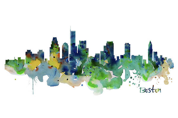 Wall Art - Painting - Boston Skyline  by Marian Voicu