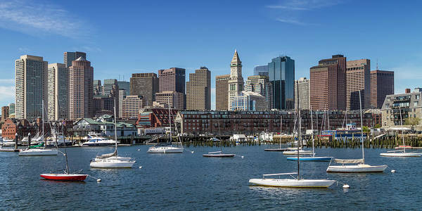 Boston North End Wall Art - Photograph - Boston Skyline North End And Financial District - Panorama  by Melanie Viola