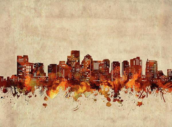 Wall Art - Digital Art - Boston Skyline Sepia by Bekim M