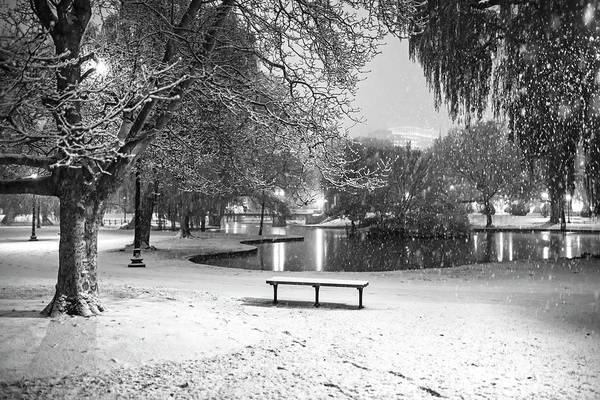 Photograph - Boston Snowfall In The Boston Public Garden Boston Ma Pond Black And White by Toby McGuire
