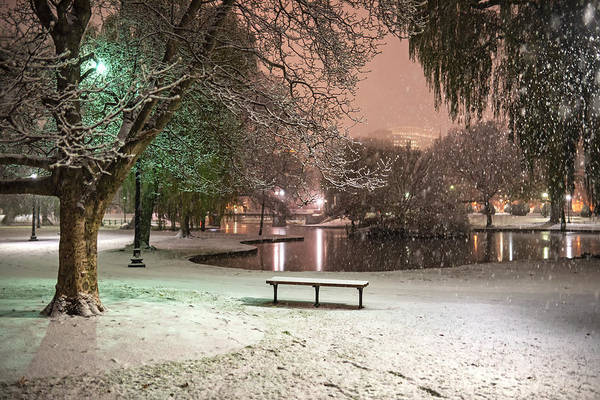 Photograph - Boston Snowfall In The Boston Public Garden Boston Ma Pond by Toby McGuire