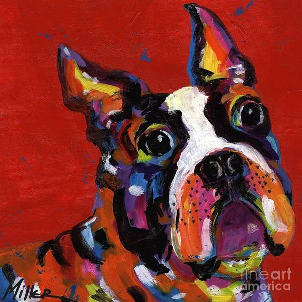 Wall Art - Painting - Boston Terrier by Tracy Miller
