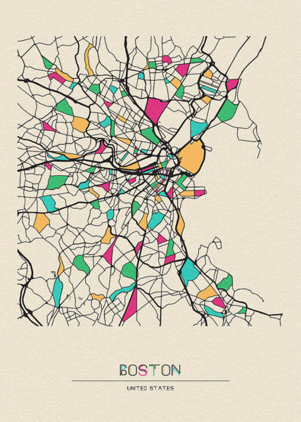 Wall Art - Drawing - Boston, United States City Map by Inspirowl Design
