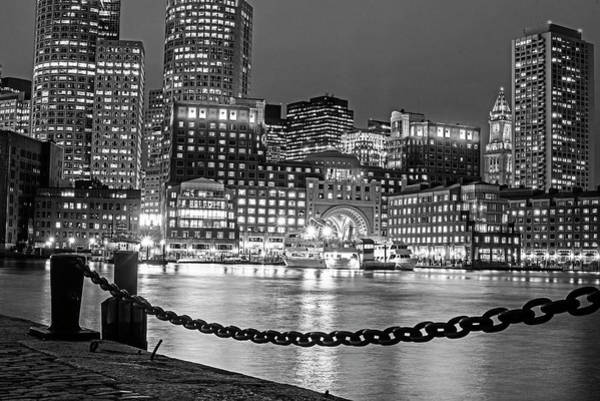 Photograph - Boston Waterfront In Red White And Blue Boston Ma Black And White by Toby McGuire