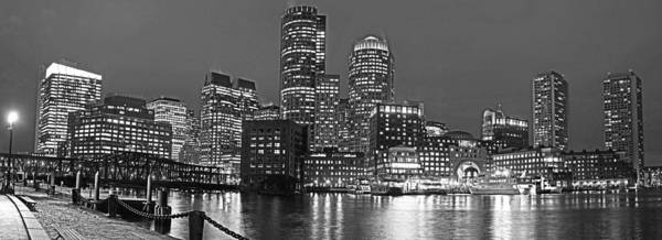 Photograph - Boston Waterfront Pano Boston Ma Black And White by Toby McGuire