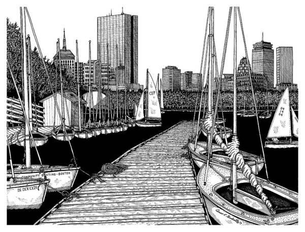Boston's Community Boating Art Print