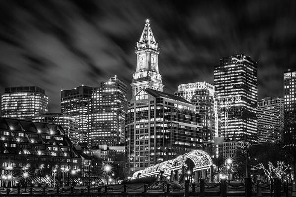 Photograph - Boston's Waterfront In Black And White by Kristen Wilkinson