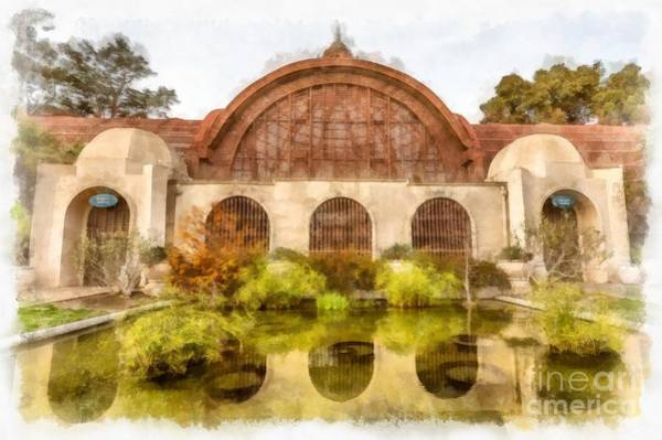 Photograph - Botanical Building Balboa Park San Diego Watercolor by Edward Fielding