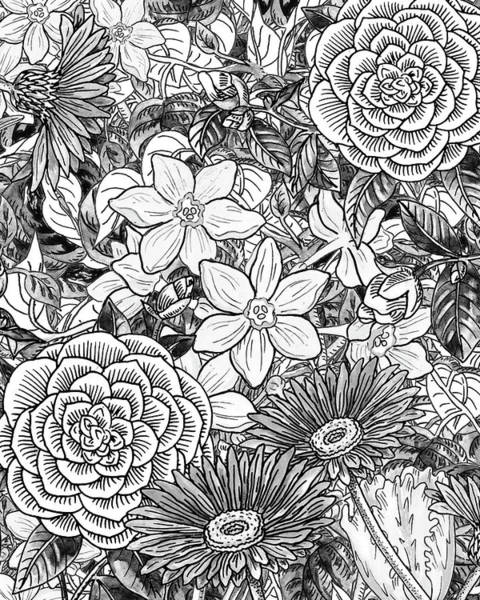 Wall Art - Painting - Botanical Watercolor Flowers Garden Flowerbed Black And White I by Irina Sztukowski