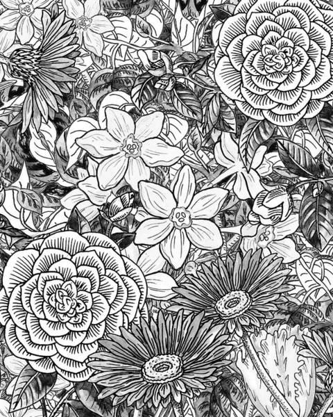 Painting - Botanical Watercolor Flowers Garden Flowerbed Black And White I by Irina Sztukowski