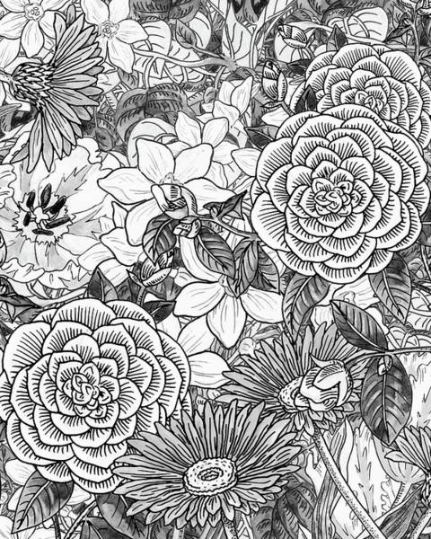 Wall Art - Painting - Botanical Watercolor Flowers Garden Flowerbed Black And White II by Irina Sztukowski
