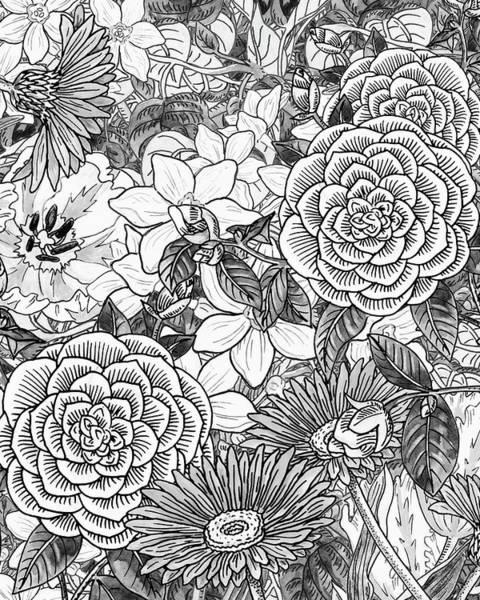 Painting - Botanical Watercolor Flowers Garden Flowerbed Black And White II by Irina Sztukowski