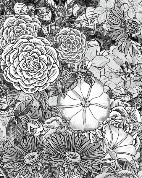 Wall Art - Painting - Botanical Watercolor Flowers Garden Flowerbed Black And White IIi by Irina Sztukowski