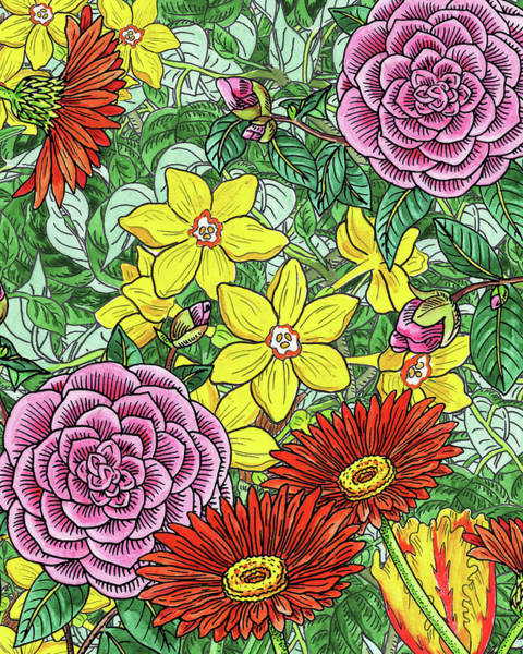 Painting - Botanical Watercolor Flowers Garden Flowerbed I by Irina Sztukowski