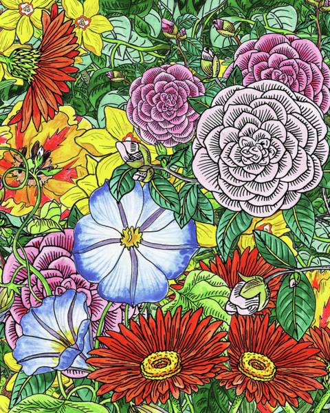 Painting - Botanical Watercolor Flowers Garden Flowerbed IIi by Irina Sztukowski