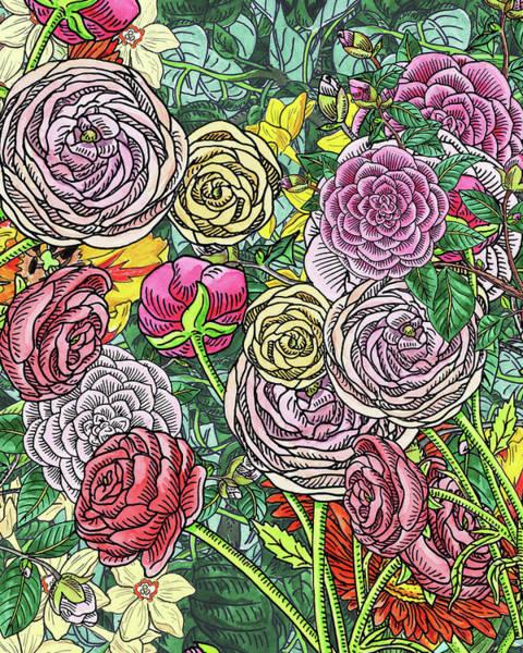 Painting - Botanical Watercolor Flowers Garden Flowerbed V by Irina Sztukowski