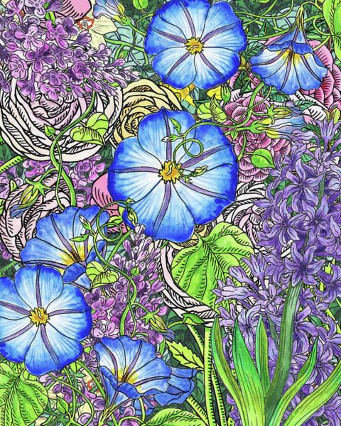 Painting - Botanical Watercolor Flowers Garden Flowerbed Vi by Irina Sztukowski