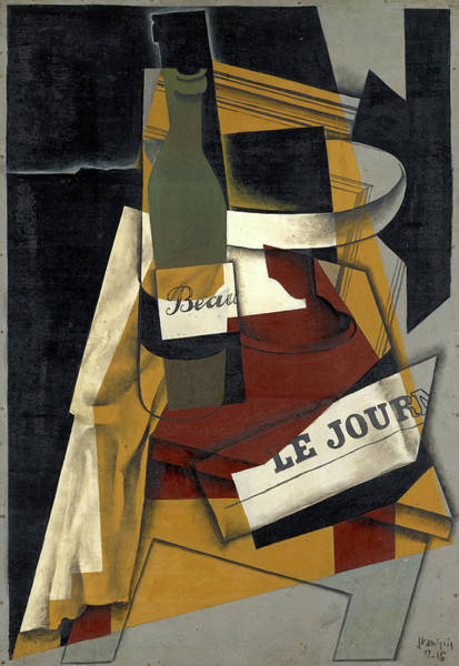 Wall Art - Painting - Bottle And Fruit Bowl by Juan Gris