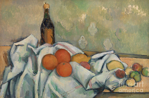 Wall Art - Painting - Bottle And Fruits, Circa 1890  by Paul Cezanne