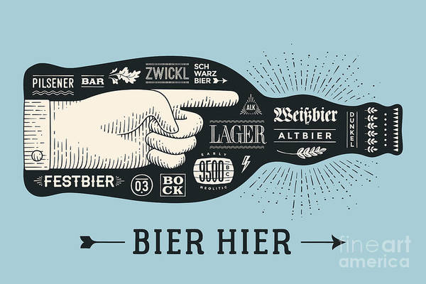 Typographic Wall Art - Digital Art - Bottle Of Beer With Hand Drawn by Forest Foxy
