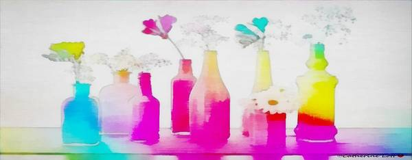 Painting - Bottled Fluers Wide-rainbow Theme by Catherine Lott