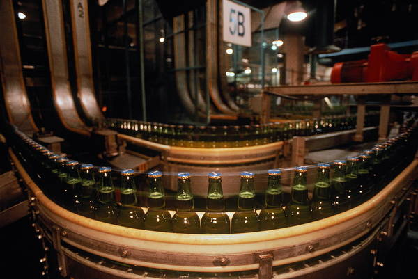 Beer Photograph - Bottles Of Beer Moving Along Assembly by Mitch Kezar