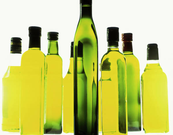 Wall Art - Photograph - Bottles Of Olive Oil, Close Up by Food