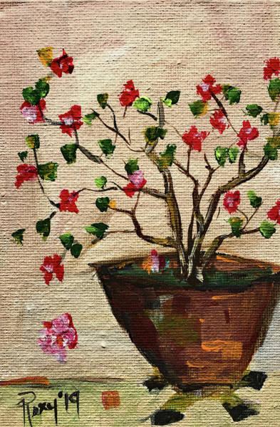 Flower Painting - Bougainvillea In A Pot by Roxy Rich