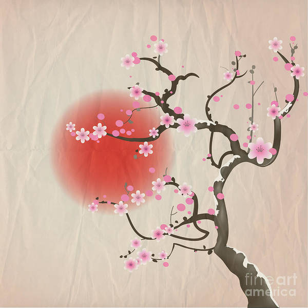 East Asian Culture Wall Art - Digital Art - Bough Of A Cherry Blossom Tree Against by Jane Rix