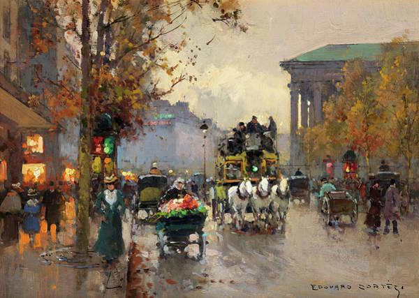 Boulevard Painting - Boulevard De La Madeleine, Paris by Edouard Leon Cortes