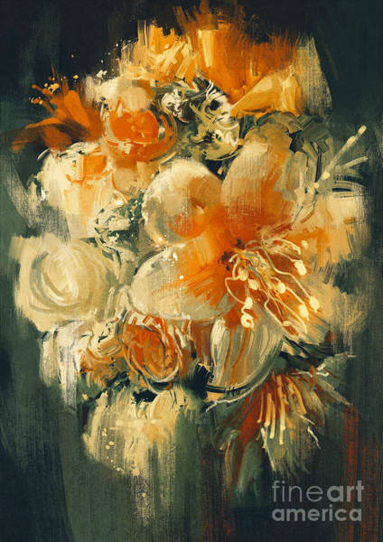 Wall Art - Digital Art - Bouquet Flowers In Oil Painting by Tithi Luadthong