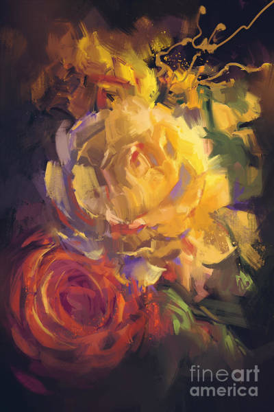 Flower Bouquet Wall Art - Digital Art - Bouquet Of Colorful Roses With Oil by Tithi Luadthong