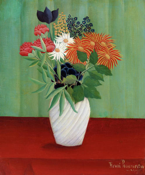 Wall Art - Painting - Bouquet Of Flowers With China Asters And Tokyos - Digital Remastered Edition by Henri Rousseau