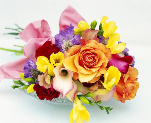 Calla Photograph - Bouquet Of Rosa, Zantedeschia by Linda Burgess