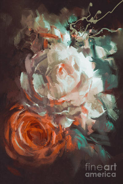 Wall Art - Digital Art - Bouquet Of Roses With Oil Painting by Tithi Luadthong