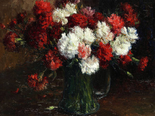 Wall Art - Painting - Bouquet With Red And White Carnations In A Vase by Germain Theodore Ribot