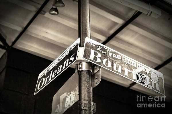 Wall Art - Photograph - Bourbon And Orleans Street Sign In New Orleans by John Rizzuto