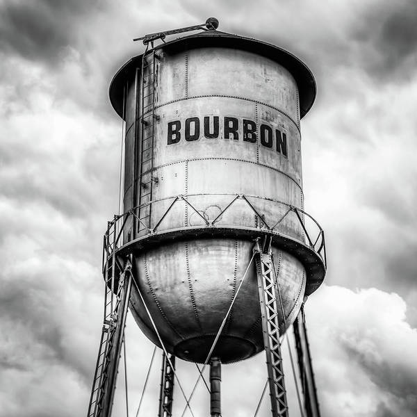 Photograph - Bourbon Monochrome Whiskey Water Tower Barrel And Cloudy Skies by Gregory Ballos