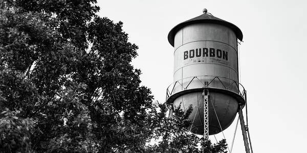 Photograph - Bourbon Panoramic Monochrome Water Tower And Foliage by Gregory Ballos
