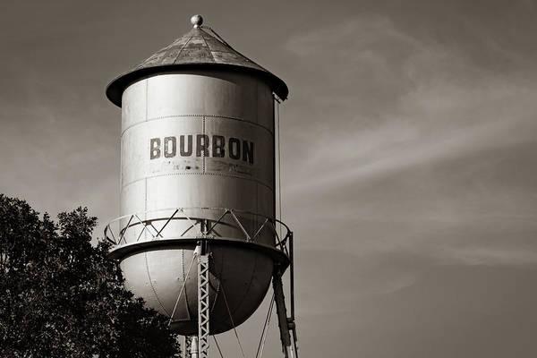 Photograph - Bourbon Sepia Water Tower Tank - Sepia Missouri Rt 66 by Gregory Ballos