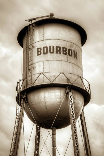 Photograph - Bourbon Vintage Water Tower Barrel - Original Sepia by Gregory Ballos