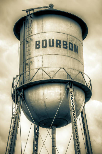 Photograph - Bourbon Vintage Water Tower Up Close - Sepia by Gregory Ballos
