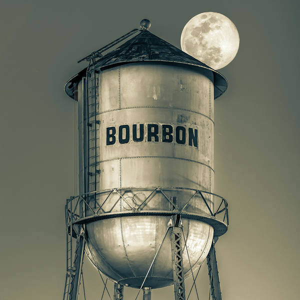 Photograph - Bourbon Water Tower And Full Supermoon In Sepia by Gregory Ballos