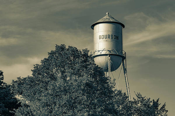 Wall Art - Photograph - Bourbon Water Tower And Tree - Missouri Sepia Monochrome by Gregory Ballos