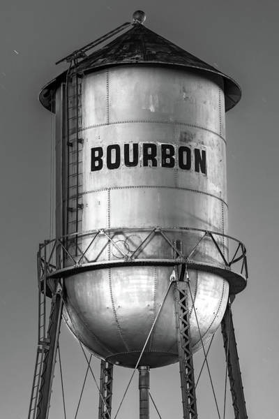 Photograph - Bourbon Water Tower Architecture In Black And White  by Gregory Ballos