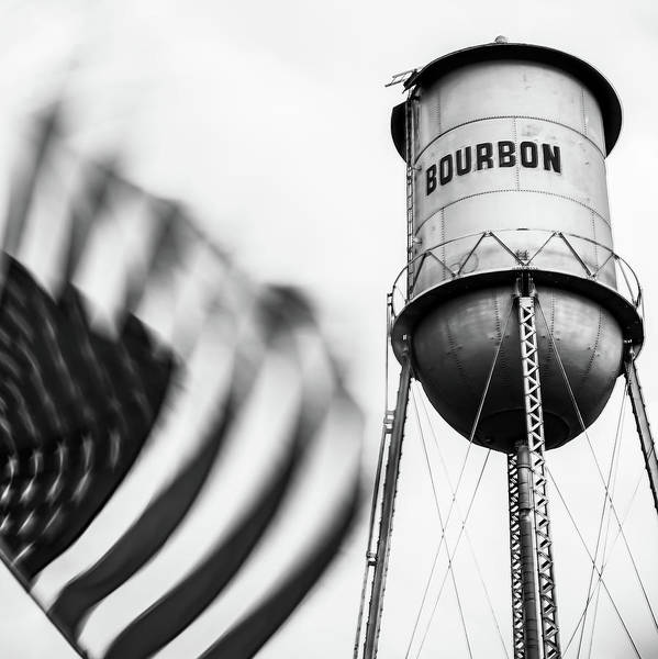 Photograph - Bourbon Water Tower Usa Vintage - 1x1 Monochrome by Gregory Ballos
