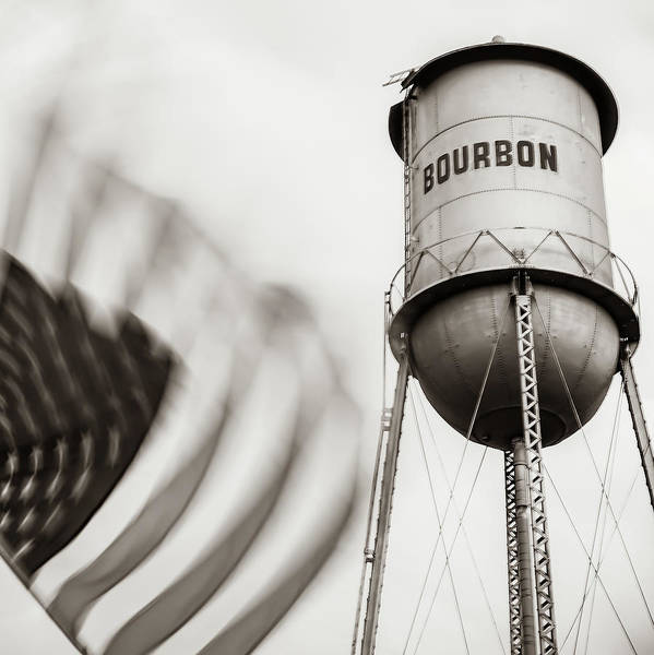 Photograph - Bourbon Water Tower Usa Vintage - 1x1 Sepia by Gregory Ballos