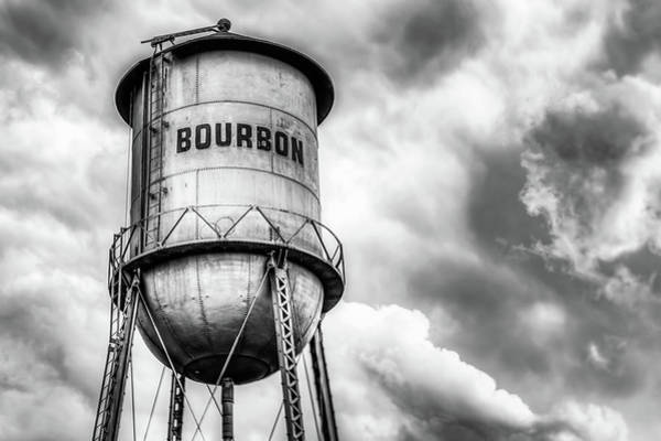 Photograph - Bourbon Water Tower Whiskey Barrel With Clouds - Monochrome Edition by Gregory Ballos