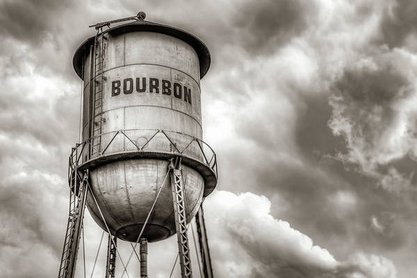 Photograph - Bourbon Water Tower Whiskey Barrel With Clouds - Sepia Edition by Gregory Ballos