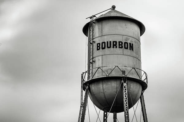 Photograph - Bourbon Whiskey Barrel Tower Black And White by Gregory Ballos